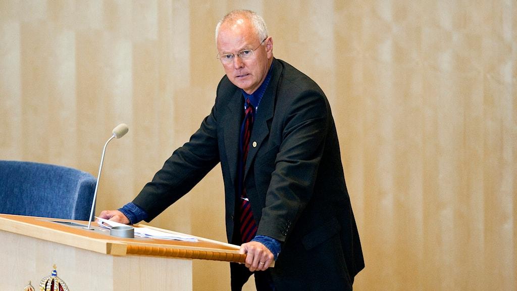 Finn Bengtsson (M) i en riksdagsdebatt. Foto: Christine Olsson/TT