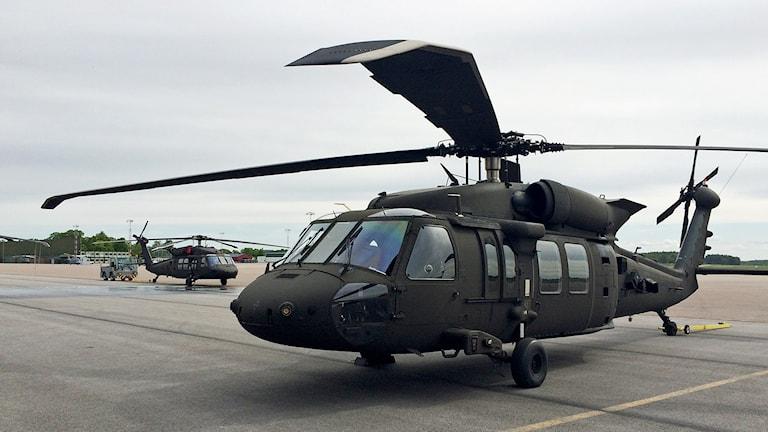 Helikopter 16 på Malmen. Foto: Johan Gustafsson/Sveriges Radio