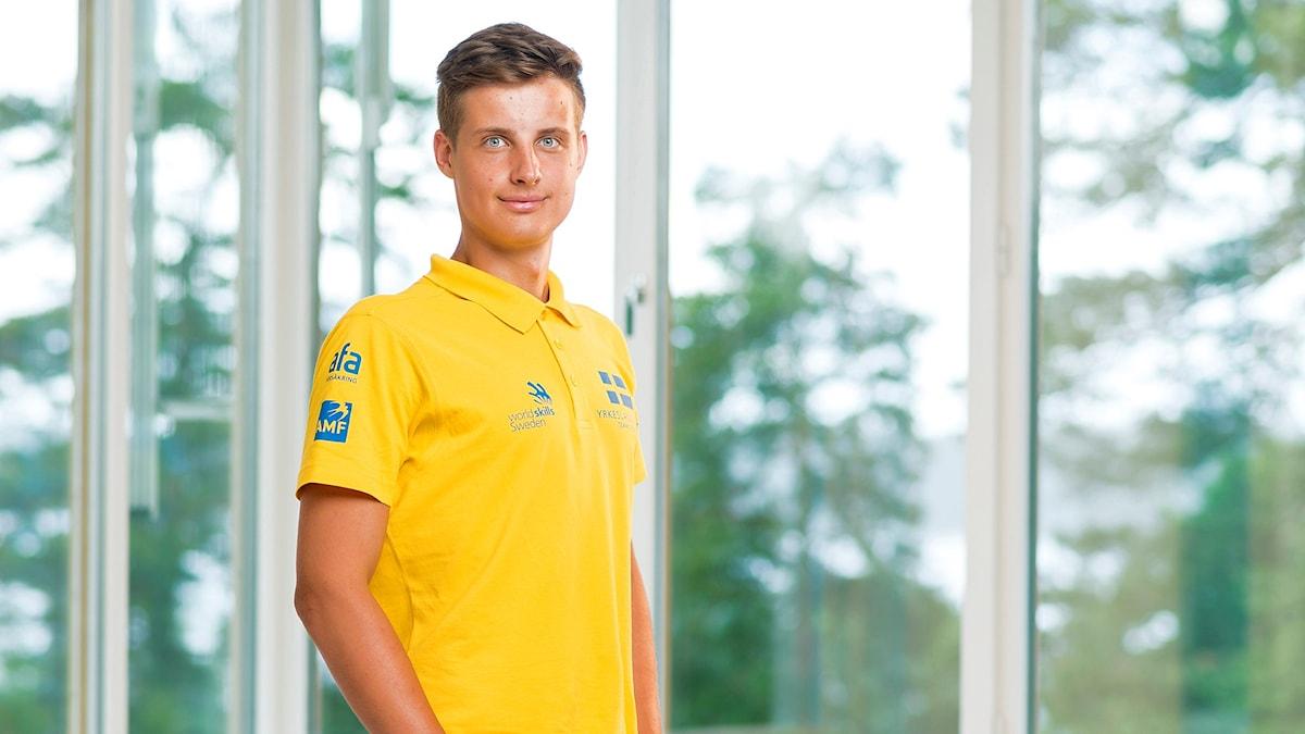 Rasmus Westlund, trädgårdsanläggare i Yrkeslandslaget 2015. Foto: Viktor Fremling