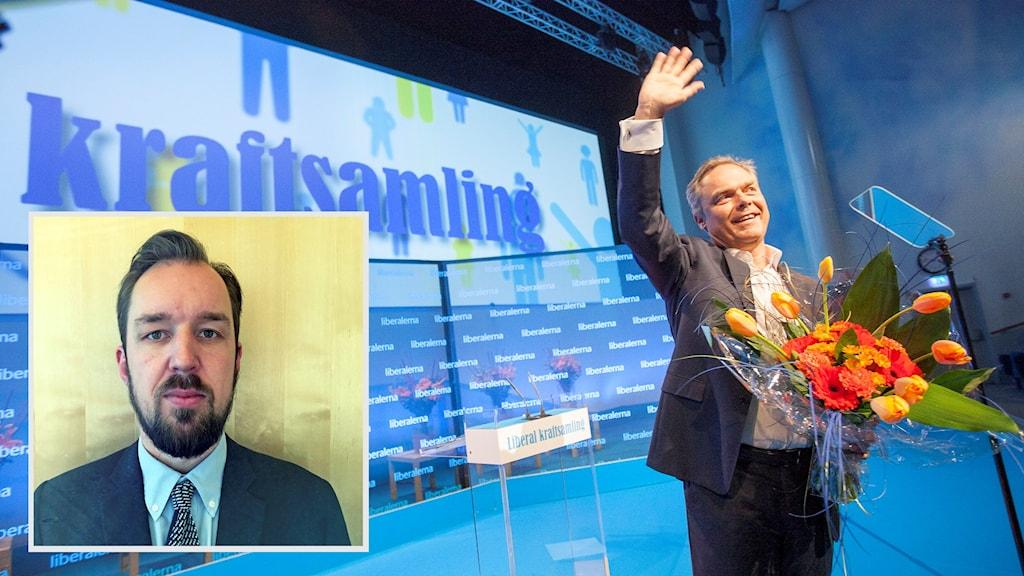 Erik Svansbo (till vänster) hopar av i protest mot partiledningen. Foto: Peter Krüger / TT och privat (montage: Sveriges Radio)