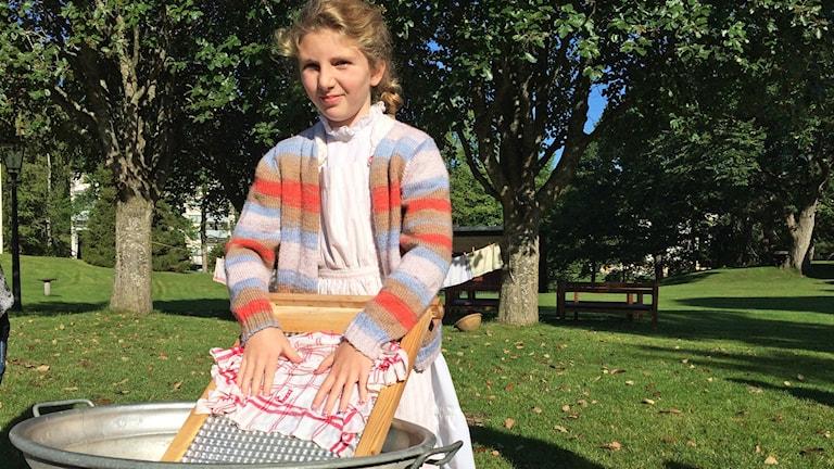 Maja Arnell går i åk 4 på Lagmansskolan. Foto: Lisen Elowson Tosting/Sveriges Radio