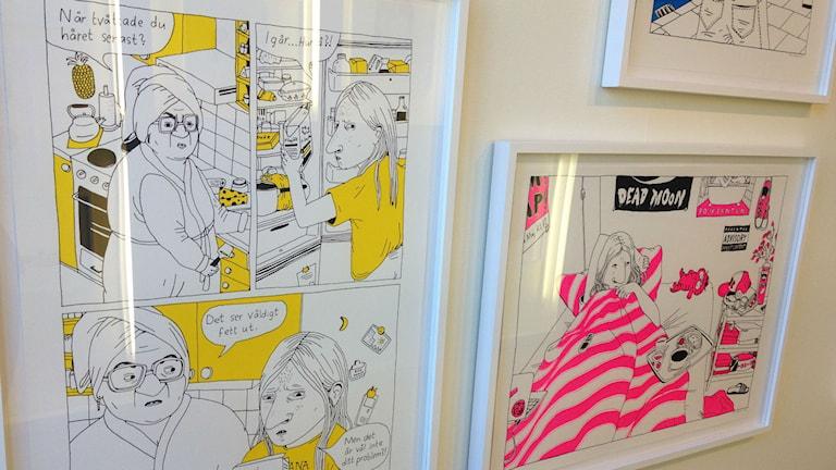 Serietecknaren Hanna Gustafsson har använt sig av screentryck foto:Maria Turdén/Sveriges Radio