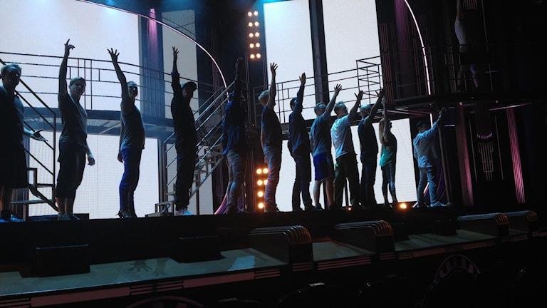 Repetion av en scen ur Jersey Boys. Foto: Maria Turdén/Sveriges Radio
