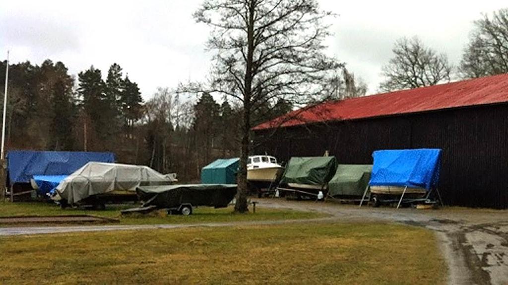 Uppläggningsplats för båtar i Bestorp Foto: Axel Swartling/Sveriges Radio