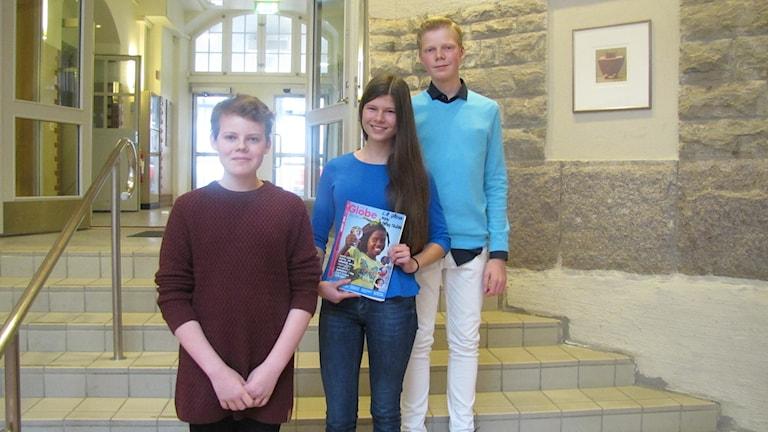 Love Wahlberg, Malva Landin och August Lundquist lade sina röster på årets Barnrättshjälte.
