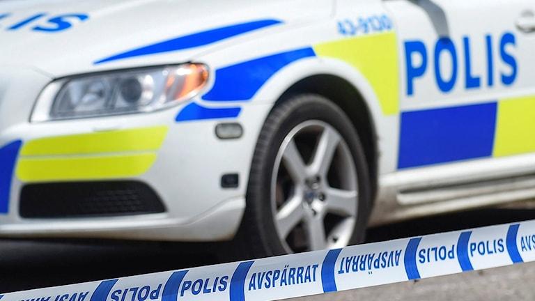 Polisbil och avspärrning. Foto: Mikael Fritzon/TT