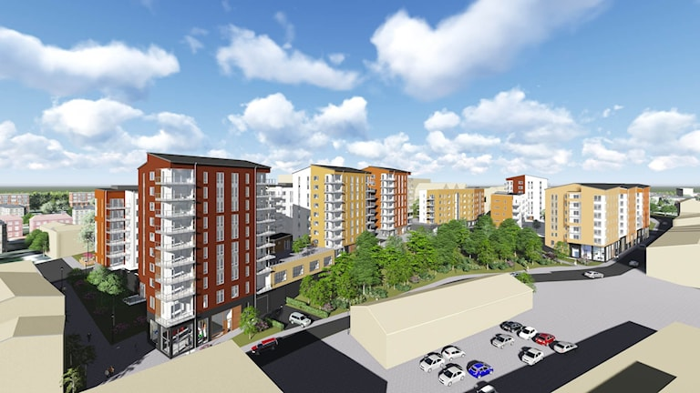 Så ska de nya hyreshusen i Norrköping se ut. Grafik: Skanska