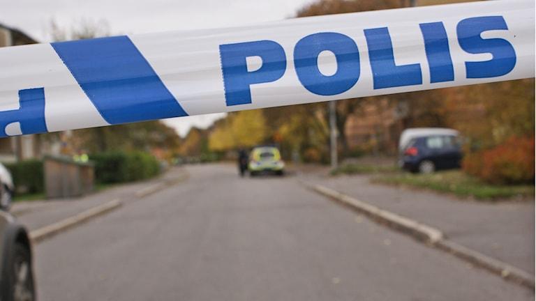 Polisens avspärrning i Hejdegården. Foto: Tahir Yousef/Sveriges Radio