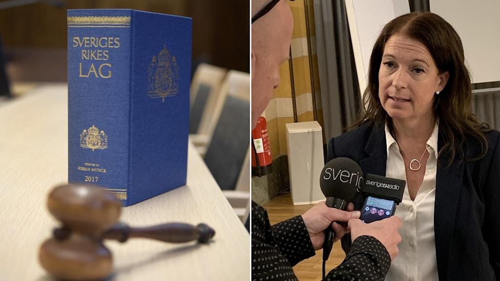 Montage Lagbok och Anna Lander, åklagare