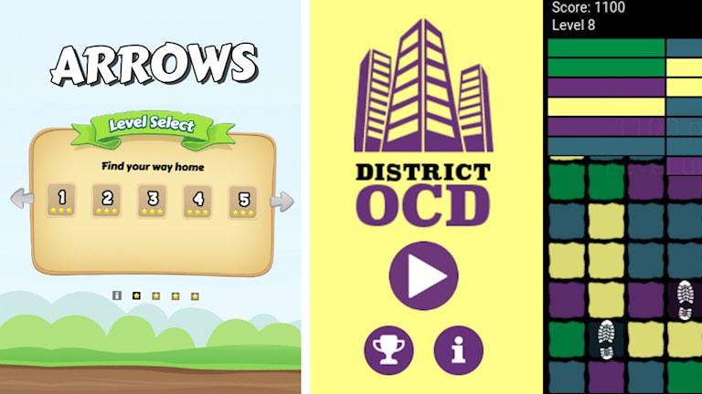 Linnéa Mellblom spel Arrows och Linnéa Nåbos spel District OCD.