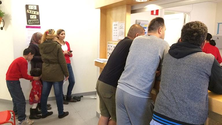 Receptionen på ett flyktingboende i Norrköping Foto:Maria Turdén/Sveriges Radio