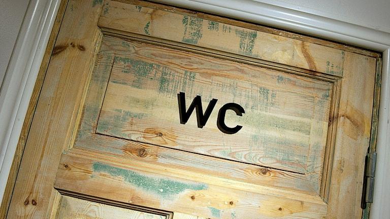 En skylt med texten WC på en dörr. Foto: Maja Suslin/TT.