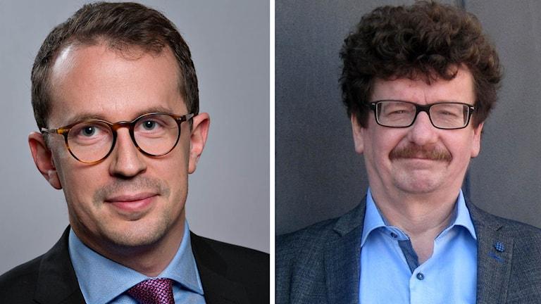 Christian Gustavsson (M), oppositionsråd i Linköping och Lars Stjernkvist (S), kommunalråd i Norrköping. Foto: Linköpings kommun & P4 Östergötland