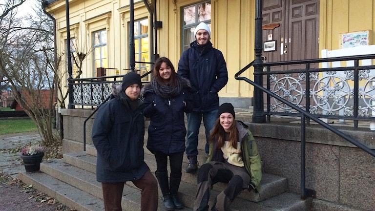 Carl- Johan Wicklund, Linda Lamber, Joshua Bravo Nikolic samt Ellinor arlsson. Foto: Rosmari Karlsson/Sveriges Radio