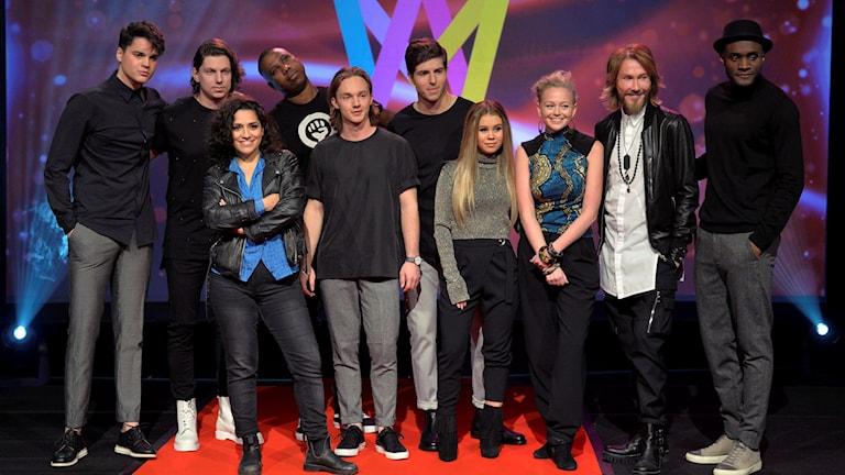 Delar av startfältet i Melodifestivalens deltävling i Norrköping. Foto: Jonas Ekströmer/TT