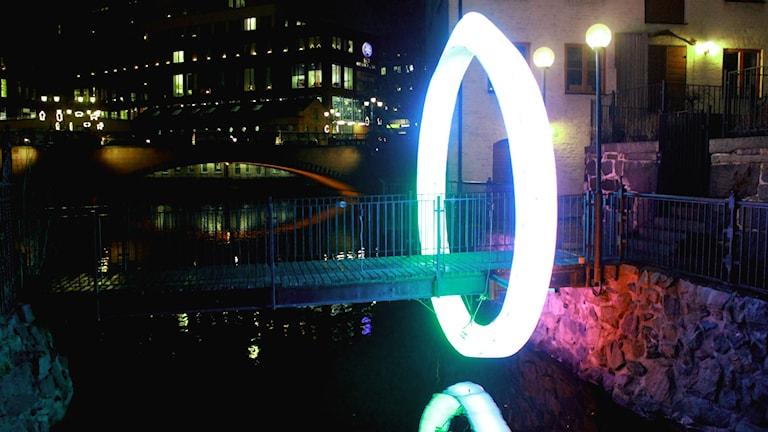 Circle of light ett av konstverken i Norrköping light festival Foto:Tommy Alexandersson/Sveriges Radio