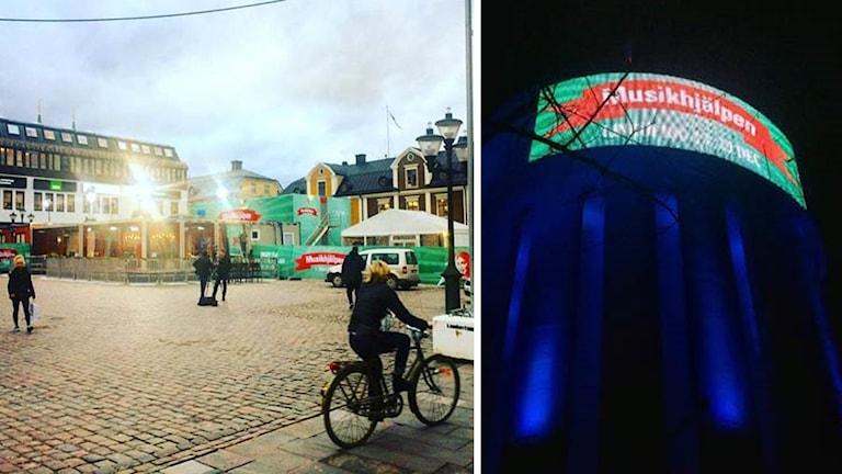På Stora Torget är buren på plats och vattentornet i Linköping har musikhjälpenstil. Foto: Sveriges Radio