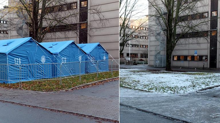 Tält vid migrationsverket i Norrköping. Foto: Lennart S. Svensson