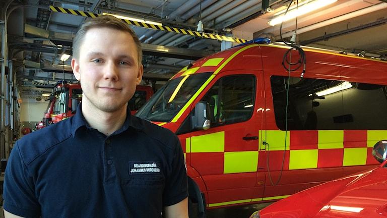 Johannes Nordberg, brandingenjör på räddningstjänsten Östra Götaland Foto: Lisen Elowson Tosting/Sveriges Radio