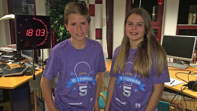 Gustav Berge och Maja Hansson, Vreta Klosters skola 5B.