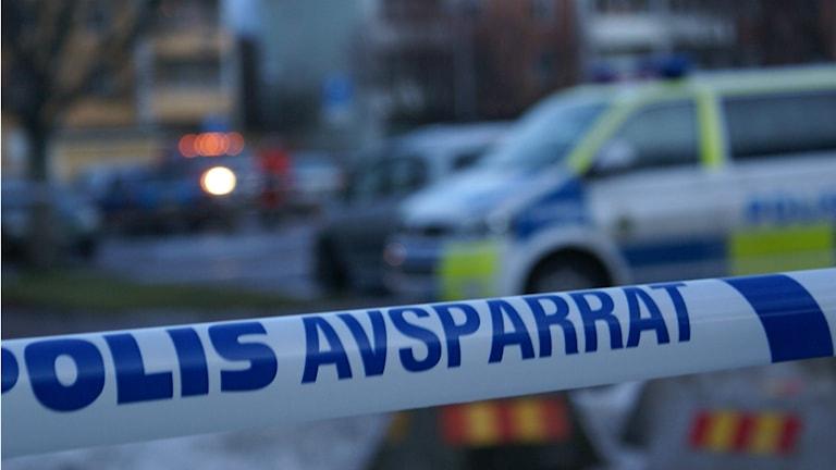 Avspärrat efter mordet i Hageby, Norrköping Foto: Tahir Yousef/Sveriges Radio