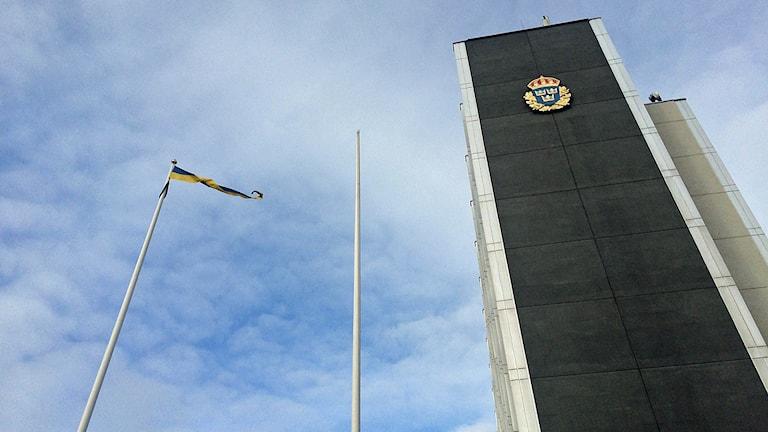 Polisen flaggar ej på kungens namnsdag. Foto: Malin Marcko/Sveriges Radio