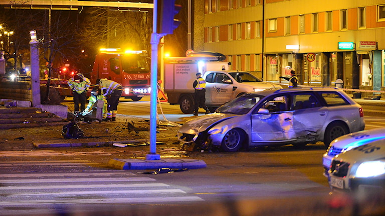 En kvinna blev på söndagskvällen ihjälkörd på en trottoar i Linköping. Foto: Niklas Luks/TT