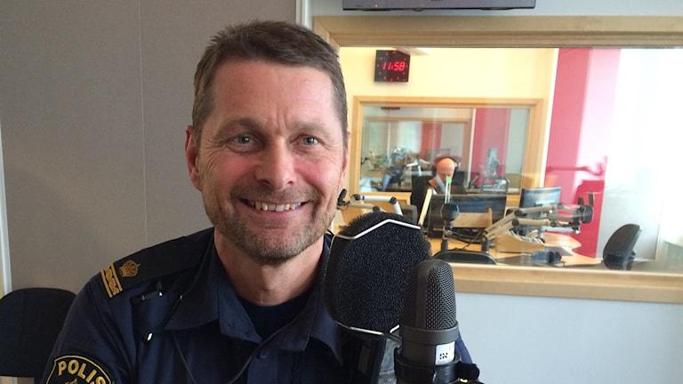 Thomas Jönsson, t.f. gruppchef Trafikpolisen Linköping. Foto: Jessica Gredin/Sveriges Radio.