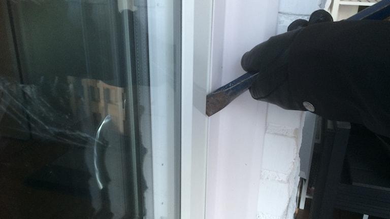 Inbrottsförsök altandörr.