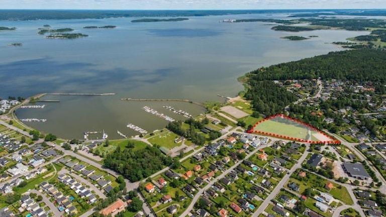 Flygfoto över området Lindö.