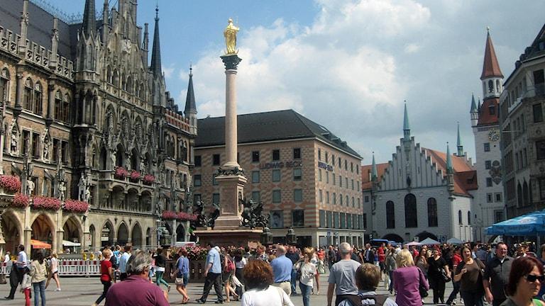 Marienplatz i München.