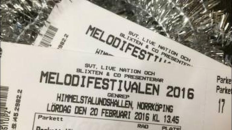 Biljetter till Melodifestivalen.