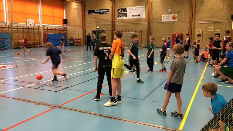 Barn som idrottar i gymnastikhall.