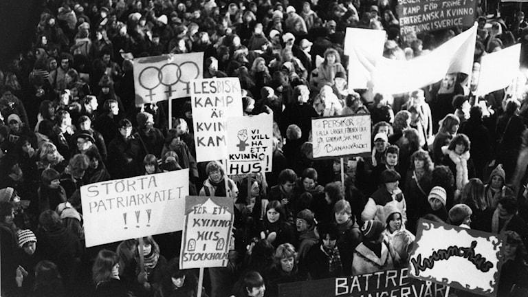 Kvinnliga protestgrupp.