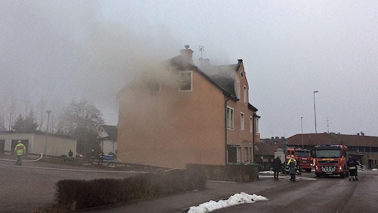 Branden i ett hyreshus i Boxholm.