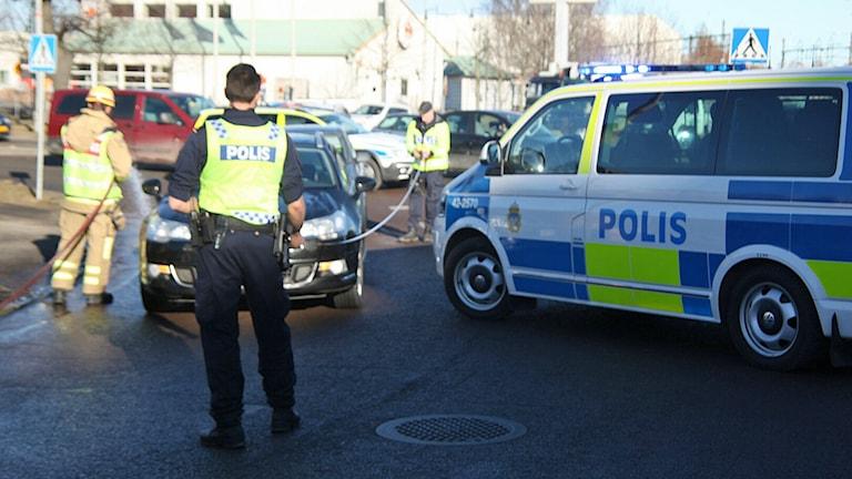 Trafikolyckan i Packhusrondellen i Norrköping.