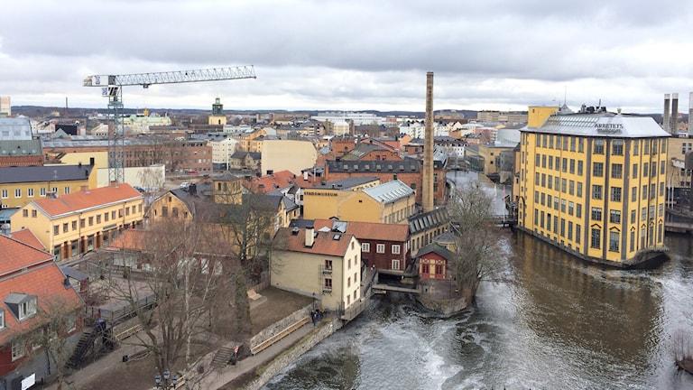 Vy över industrilandskapet i Norrköping