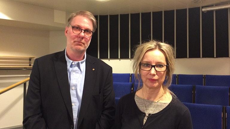 Per Frödin, förälder och Christina Billemar, rektor