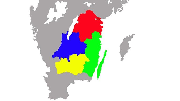 Östergötlands, Jönköpings, Kalmar och Kronobergs län.