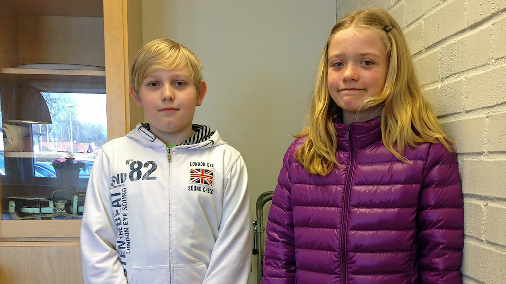 Axel Lundell och Sofie Ettling i årskurs 4 på Vikbolandsskolan.
