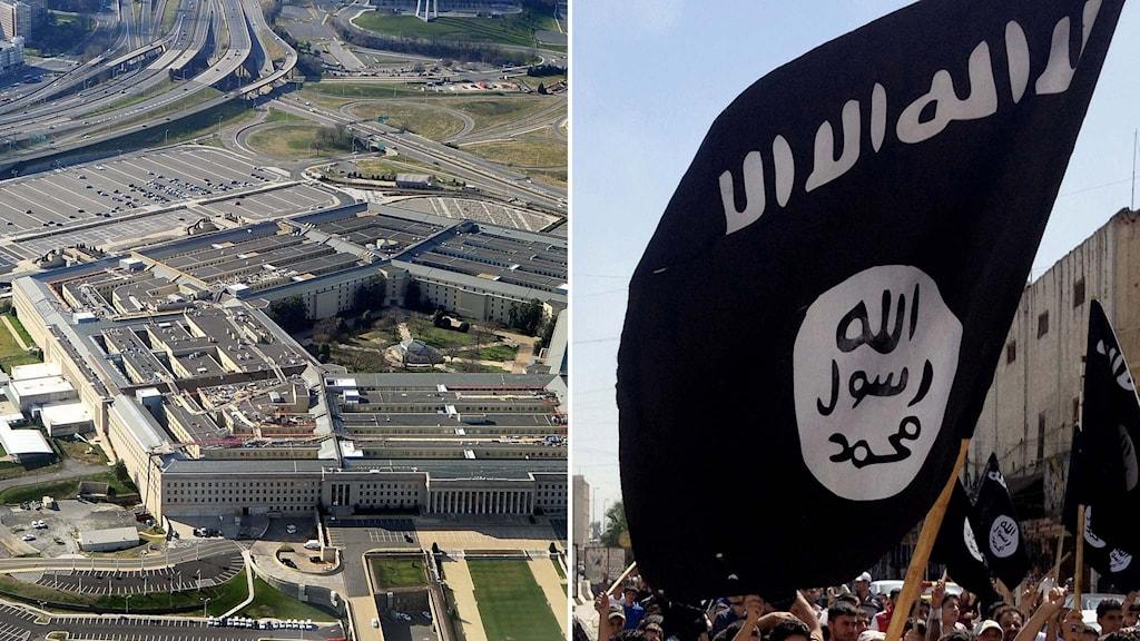 Amerikanska försvarsdepartementet Pentagon och en IS-flagga.