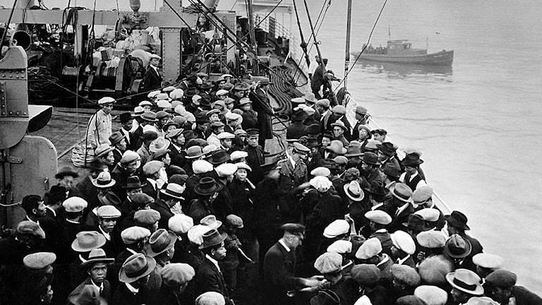 Europeiska emigranter anländer till Ellis Island i New York 1891.