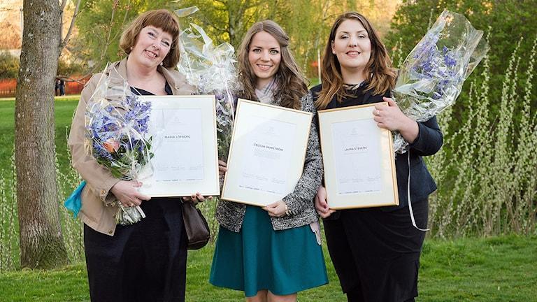 Linköpings Studentsångares internationella kompositionstävling för kvinnliga tonsättare, med segraren Cecilia Damström i mitten.