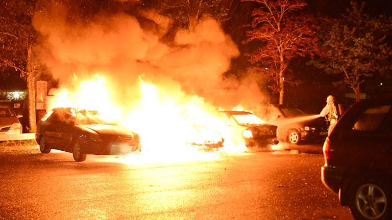 Tre bilar totalförstörda i brand i Klockaretorpet