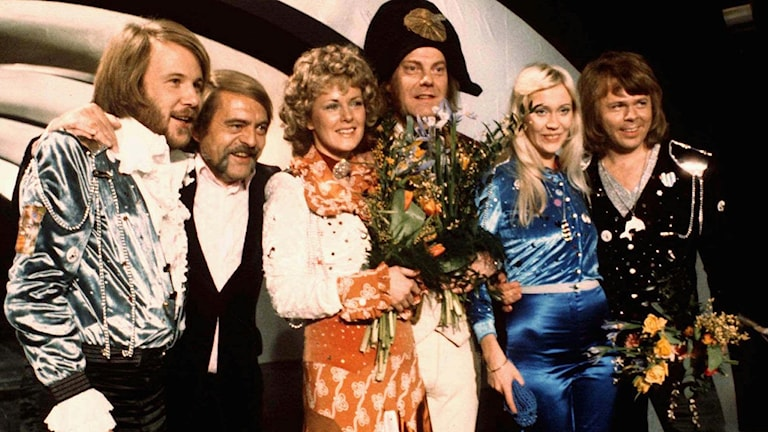 Abba efter segern i Eurovision 1974.
