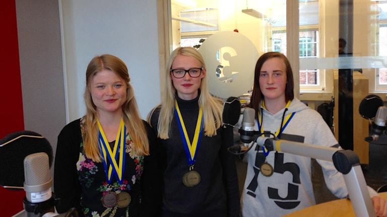 Lovisa Tegnevik, Anna Karlsson och Miranda Blom från Himmelstalundsgymnasiet stod alla på prispallen.