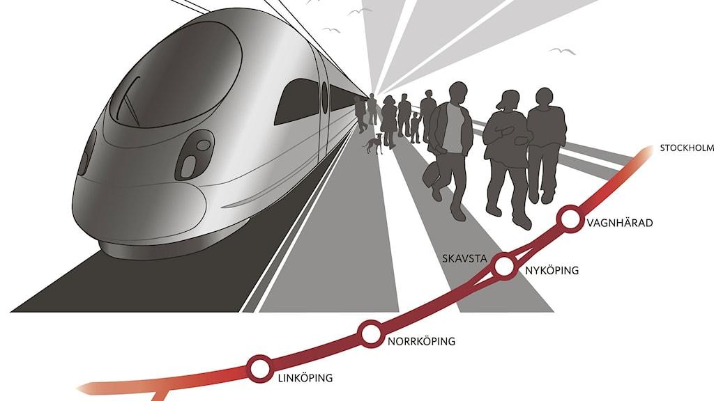 Ostlänkens sträckning. Illustration: Trafikverket