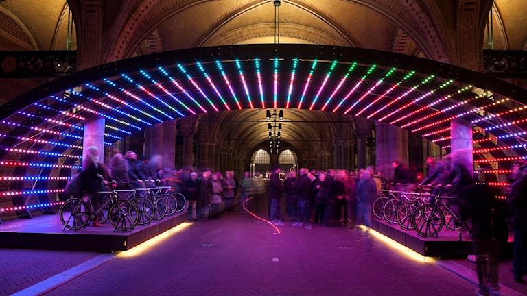 Lightbattle ett av konstverken vid Light Festival.