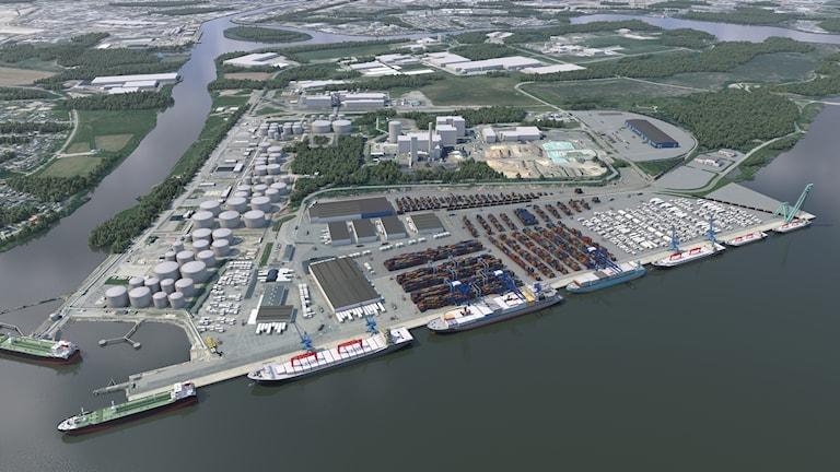 Visualisering av Pampushamnens planerade utformning, färdig år 2023.