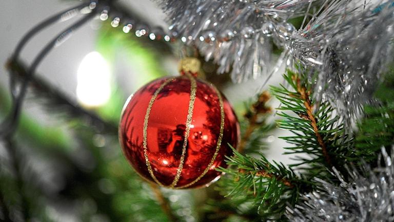 Julgranskula och glitter i gran.